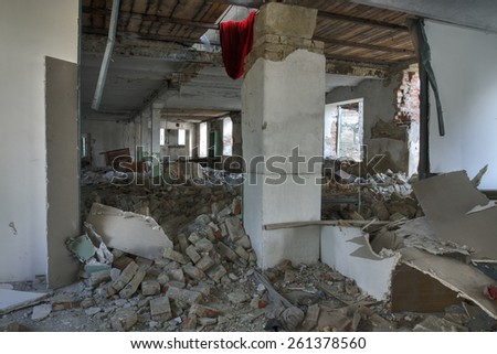 Photo from demolition  textile  factory - stock photo