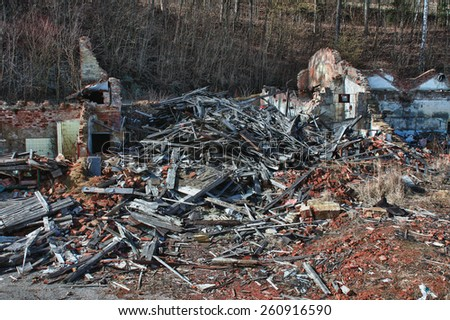 Photo from demolition  textile  factory in sunny day  - stock photo
