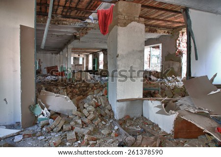 Photo from demolition  textile  factory in sunny day