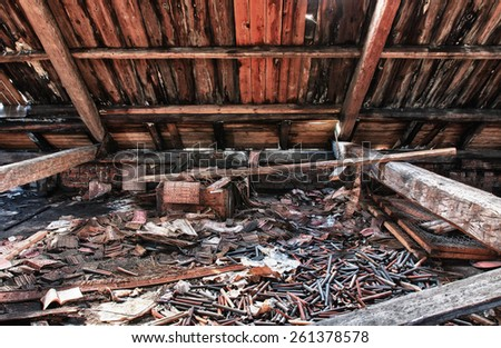 Photo from demolition  textile  factory,under roof - stock photo