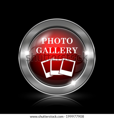Photo gallery icon. Metallic internet button on black background.