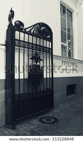 Photo gate in the city - stock photo