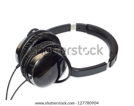 Photo glossy black headphones on white background