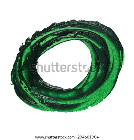 photo green round grunge brush strokes oil paint isolated on white background