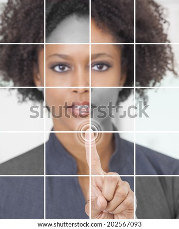 Photo grid montage of a successful african american businesswoman pressing a graphic symbol on a touchscreen.
