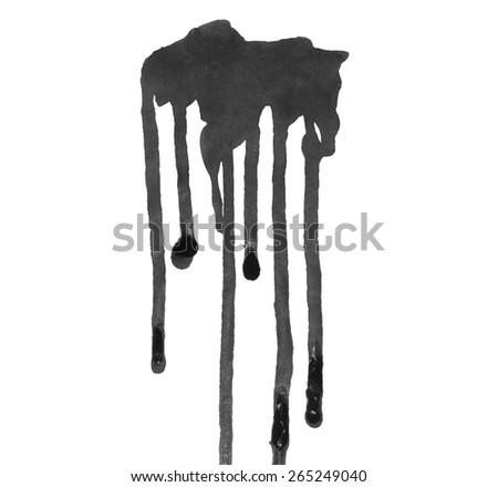 photo grunge black ink leaking isolated on white background - stock photo