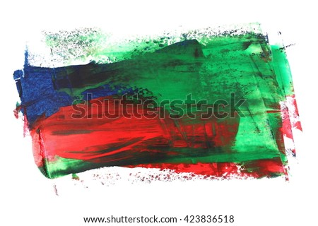 photo grunge blue red green brush strokes oil paint isolated on white background - stock photo