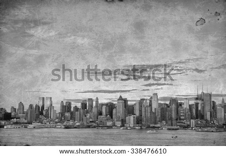 photo grunge new york city over hudson river skyline