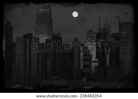 photo grunge new york cityscape in black and blue - stock photo
