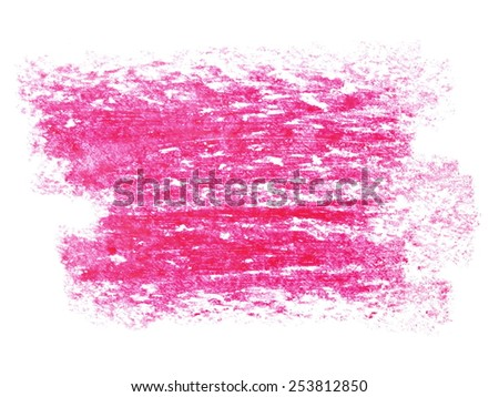 photo grunge red wax pastel crayon spot isolated on white background - stock photo
