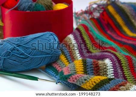 Photo hanks of threads and knitted cloth.
