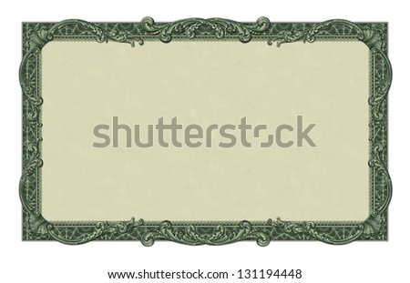 Photo-illustration of a border/frame using elements from a dollar bill. - stock photo