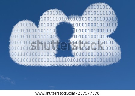 Photo illustration of a cloud in the shape of a locked padlock, symbolizing data security in the cloud. - stock photo