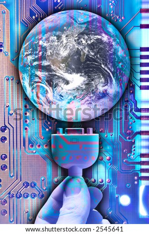 Photo illustration of a person's hand plugging a computer into the earth.