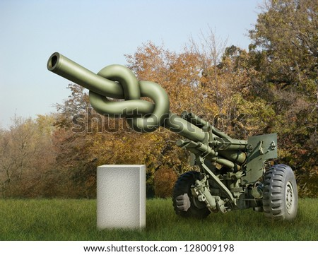 Photo-illustration of an old artillery gun with the barrel tied in a knot and a blank stone waiting for your text. - stock photo