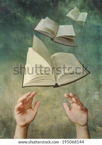 Photo illustration of child's hands reaching up for open books that are flying like birds in the sky. Reading enrichment and education concept. Artistically textured with a painterly vintage look.