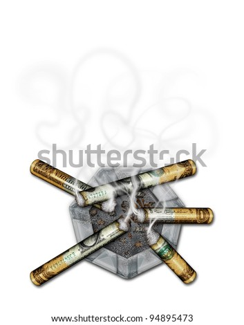 "Photo-illustration of ""Dollar"" cigarettes on an ash tray."