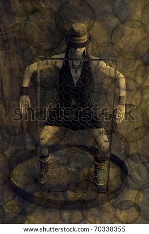 Photo illustration. Square the Circle. Alchemical dancer. Openings Everywhere! Sexy yin yang. Space, no space. - stock photo