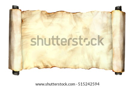 Photo image of an old rolled side paper sheet isolated on white, grunge burnt antique paper texture, empty old treasure map template