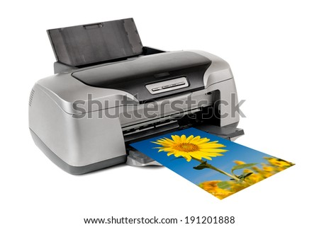 photo inkjet printer, on white background; isolated  - stock photo