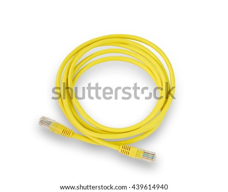 Photo LAN network connection Ethernet RJ45 cable yellow color patchcord isolated on white background. This has clipping path.                       - stock photo