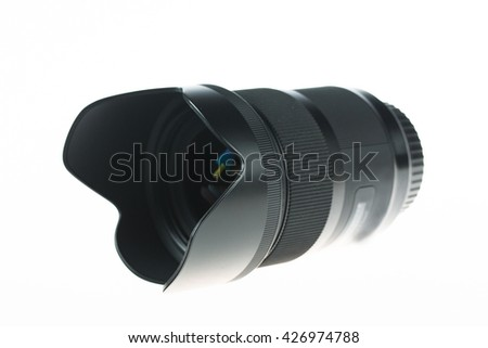 photo lens over white background - stock photo