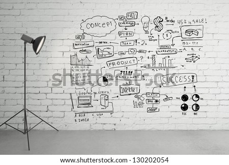 photo light and drawing business concept on wall - stock photo