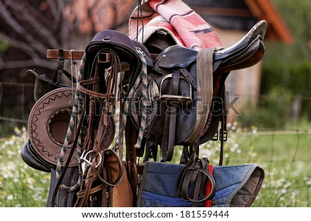 Photo lot of saddlery in the farm - stock photo