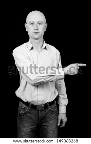 photo male in his 30's in shirt on black back drop