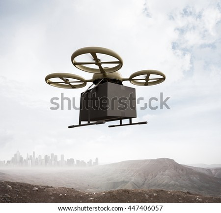 Photo Military Color Generic Design Remote Control Air Drone Flying Sky Blank Black Box Under Earth Surface.Modern City Background.Global Logistic Express Delivery.Square,Front Angle View.3D rendering