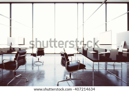 Photo modern internet cafe with panoramic windows.Generic design computers and generic white furniture in contemporary conference room.Open space office for coworking. Horizontal. 3D rendering