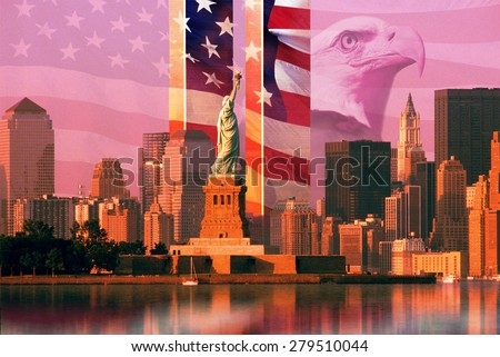 Photo montage: American flag and eagle, World Trade Center, Statue of Liberty - stock photo