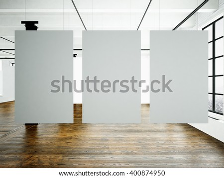 Photo museum interior in modern building.Open space studio. Empty white canvas hanging.Wood floor, bricks wall,panoramic windows.Blank frames ready for bussiness information.Horizontal. 3d rendering - stock photo