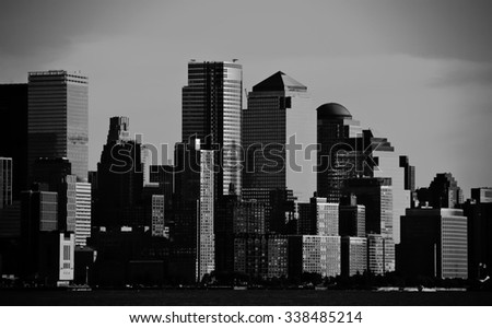 photo night green vision photograph new york downtown, nyc - stock photo