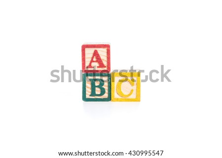 photo of a alphabet blocks spelling ABC isolate on white background