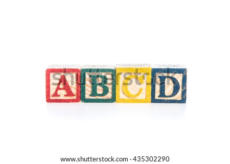 photo of a alphabet blocks spelling ABCD isolate on white background - stock photo