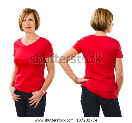 Photo of a beautiful blond woman in her early forties wearing a blank red shirt. Ready for your design or artwork. - stock photo