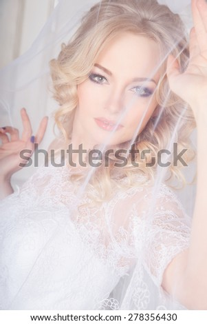 photo of a beautiful brunette bride in a luxurious wedding dress in elegant expensive interior