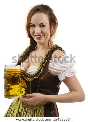 Photo of a beautiful female waitress wearing traditional dirndl and holding a huge beer over white background.