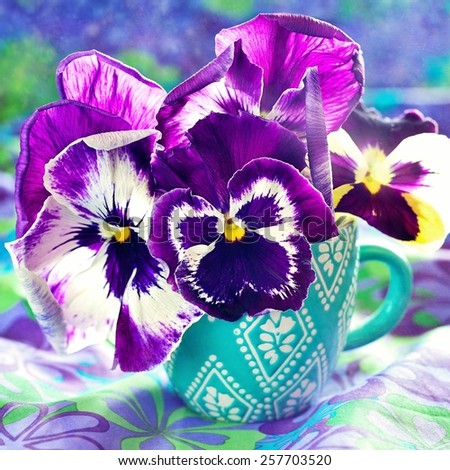 Photo of a beautiful purple pansy flowers in a blue cup . - stock photo