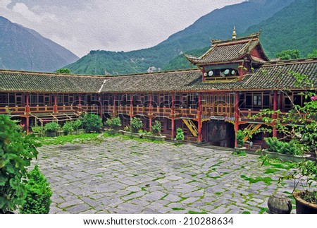photo of a beautiful Tibetan buddhist monastery in Kanding China, stylized and filtered to look like an oil painting  - stock photo