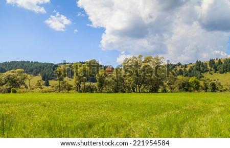 Photo of a beautiful Transylvanian landscape in summer - stock photo