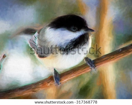 Photo of a black capped chickadee transformed into a colorful digital painting