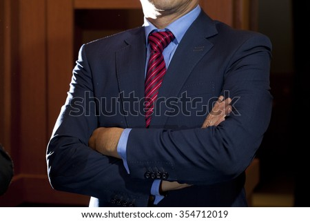 Photo Black Suit Blue Shirt Red Stock Photo (Royalty Free ...