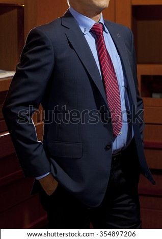 Photo Black Suit Blue Shirt Red Stock Photo 354897206 ...