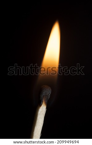photo of a burning match with a smoke on a black background - stock photo