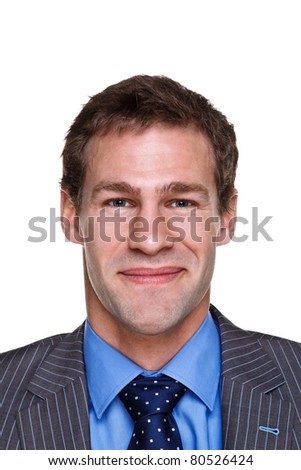 Photo of a businessman with a happy expression on his face, headshot isolated on a white background. Part of a series.