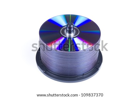 Photo Of a CD Disks Pile Isolated Over White - stock photo