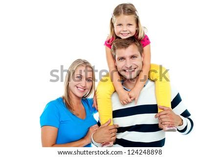 Photo of a cheerful family enjoying isolated on white background - stock photo