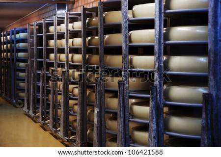 Photo of a cheese factory in Switzerland - stock photo